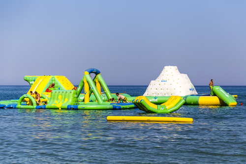boat dock water slides